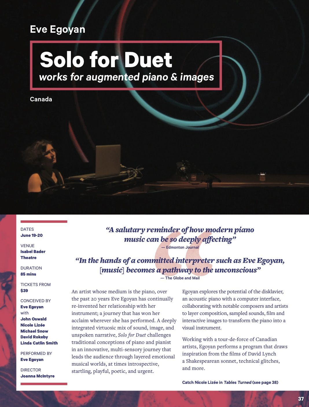 Eve Egoyan : SOLO FOR DUET Luminato review/report